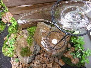 ガラスの鉢と防水ライト